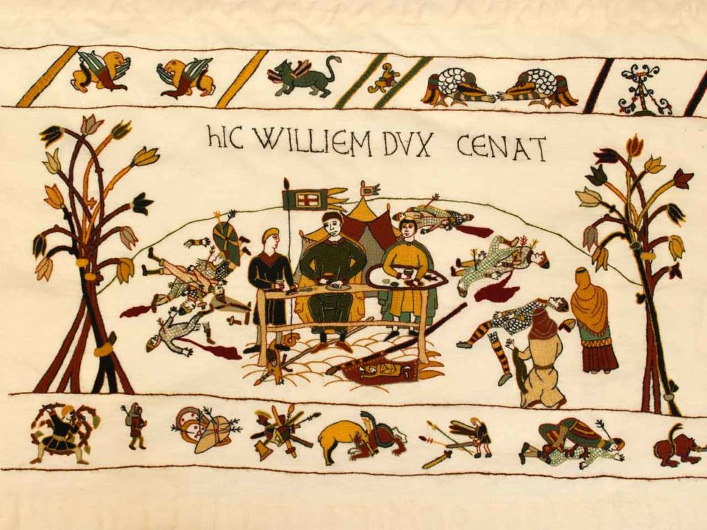 Alderney Tapestry - William holds a banquet