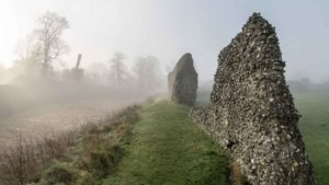 castle walls in the mist