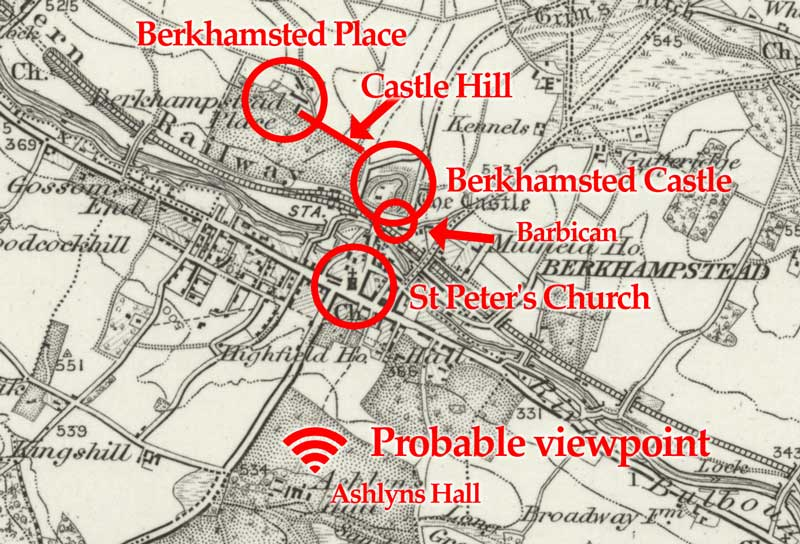 map of Berkhamsted with landmarks highlighted