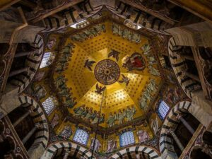 golden mosaics inside a large dome