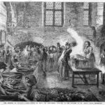 engraving of a busy Victorian soup kitchen